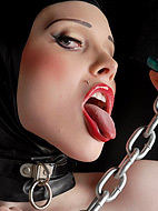 Latex and chains. Naughty Sarina Valentina playing with chains in hot latex dress