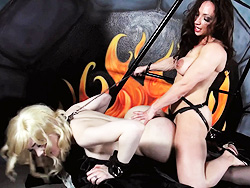 Sarina and brandie. Lovely Sarina drilled in the dungeon